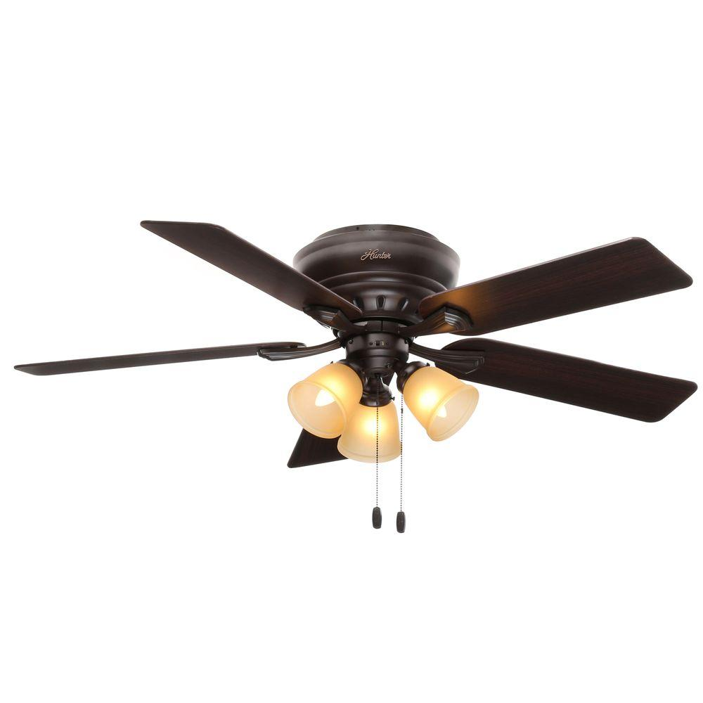 Hunter Reinert 52 In Indoor Low Profile Premier Bronze Ceiling Fan With Light Kit