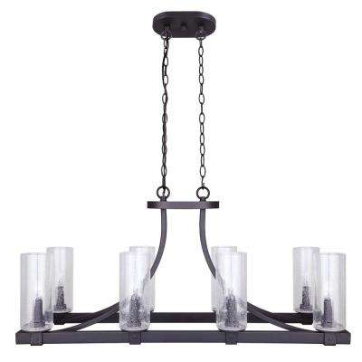 Nash 8-Light Oil Rubbed Bronze Chandelier with Seeded Glass Shades