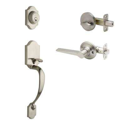 Craftsman Satin Stainless Door Handleset with Contemporary Lever Trim