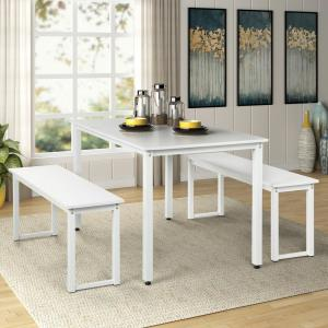 Harper & Bright Designs 3-Piece Dining Table Set with 2-Benches
