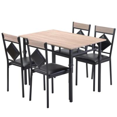Nature Dining Table Set Wood Kitchen Table and 4 Leather Dining Chair 5 Piece Kitchen Table Set with Metal Frame