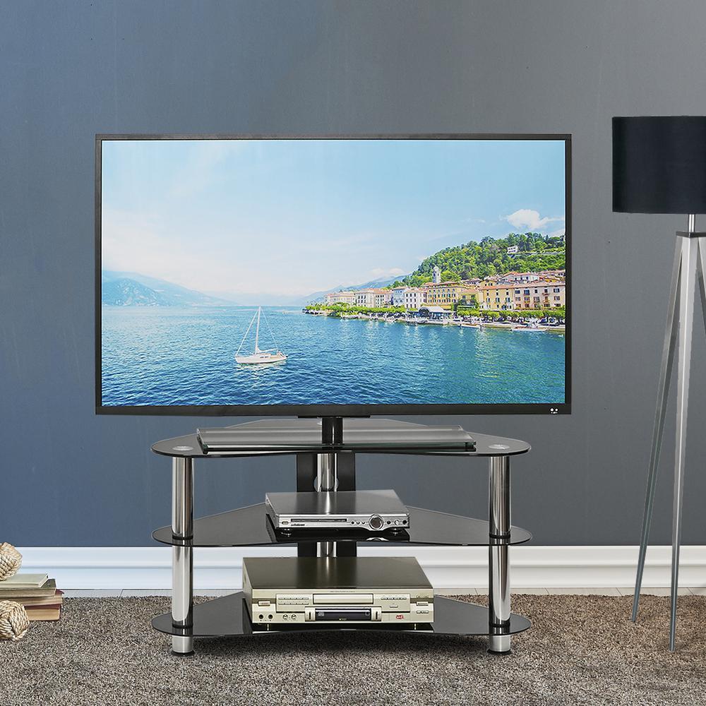 Silk Screen Glass Corner TV Stand in Black