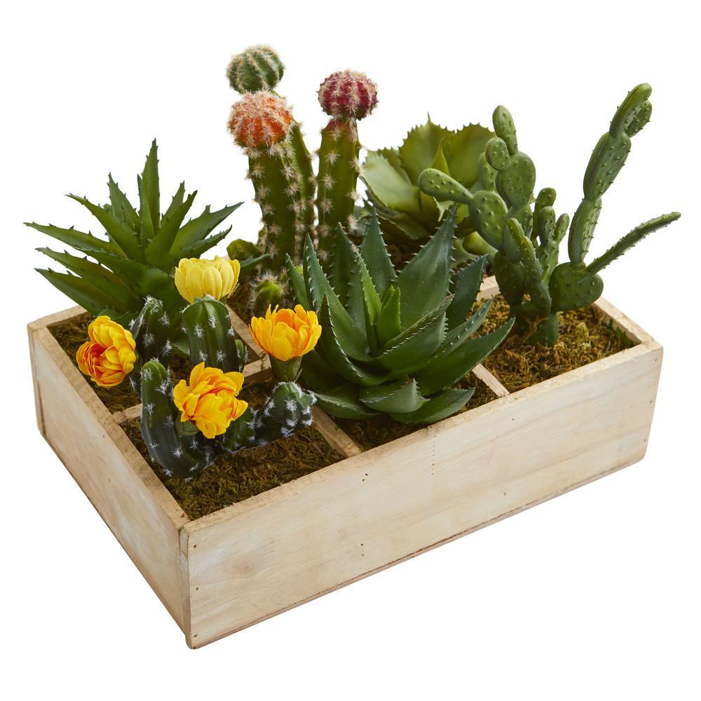 11 in. Indoor Mixed Succulent Garden in Tray Artificial Plant