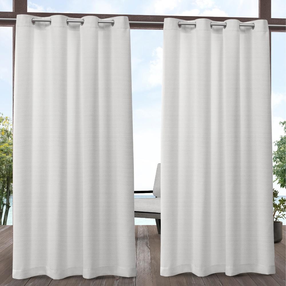 Aztec 54 in. W x 96 in. L Indoor Outdoor Grommet Top Curtain Panel in White (2 Panels)