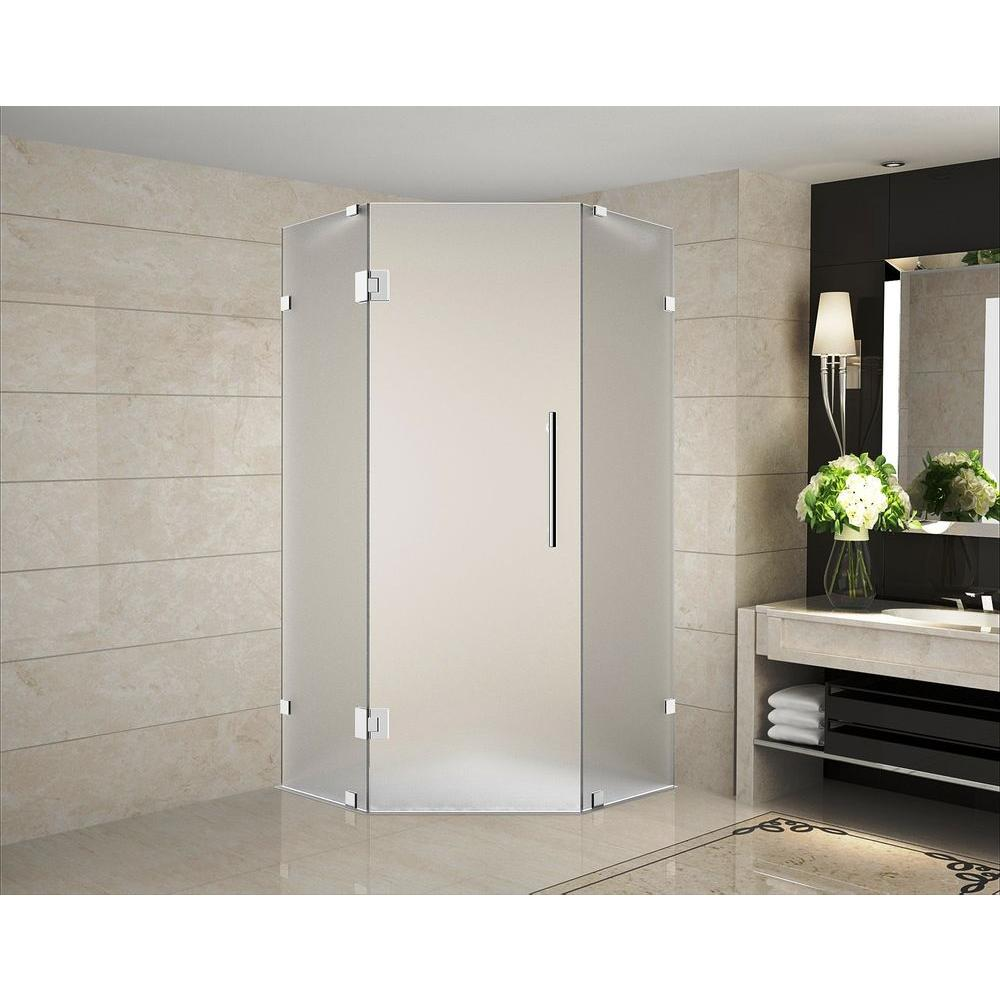 Aston Neoscape 36 in. x 36 in. 72 in. Completely Frameless Hinged ...