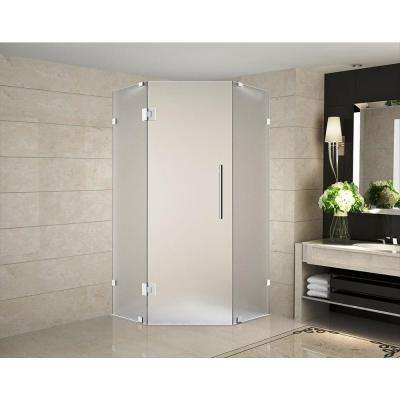 Neoscape 36 in. x 36 in. 72 in. Completely Frameless Hinged Neo-Angle Shower Enclosure with Frosted Glass in Chrome