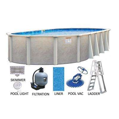 Ashford 12 ft. x 24 ft. Oval 52 in. Deep Hard Side Metal Wall and Frame Above Ground Swimming Pool Package