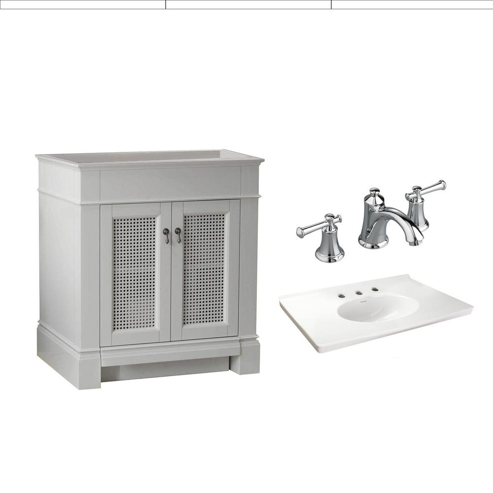 American Standard Portsmouth 30 in. Bath Vanity with Fireclay Vanity Top in White with 8 in. Centerset Faucet with Lever Handles in Chrome