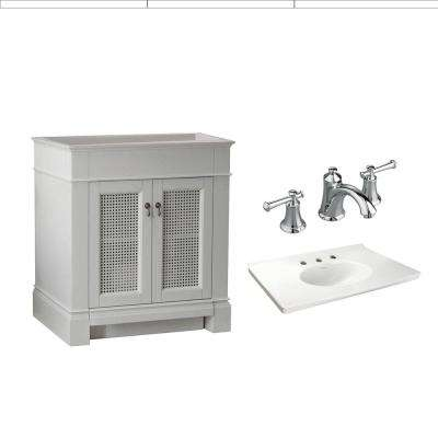 Portsmouth 30 in. Bath Vanity with Fireclay Vanity Top in White with 8 in. Centerset Faucet with Lever Handles in Chrome