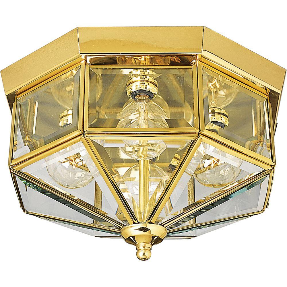 11.13 in. 4-Light Polished Brass Flushmount with Clear Beveled Glass