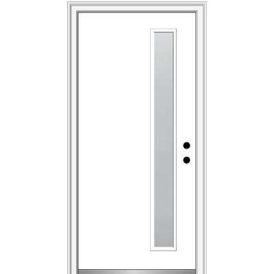 32 in. x 80 in. Viola Left-Hand Inswing 1-Lite Frosted Modern Painted Steel Prehung Front Door on 6-9/16 in. Frame