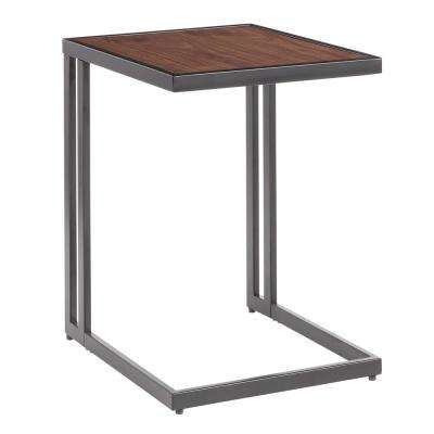 Roman Industrial Side Table in Black Metal with Walnut Wood Top