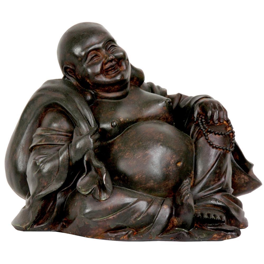 Oriental Furniture 5 in. Sitting Happy Buddha Decorative Statue