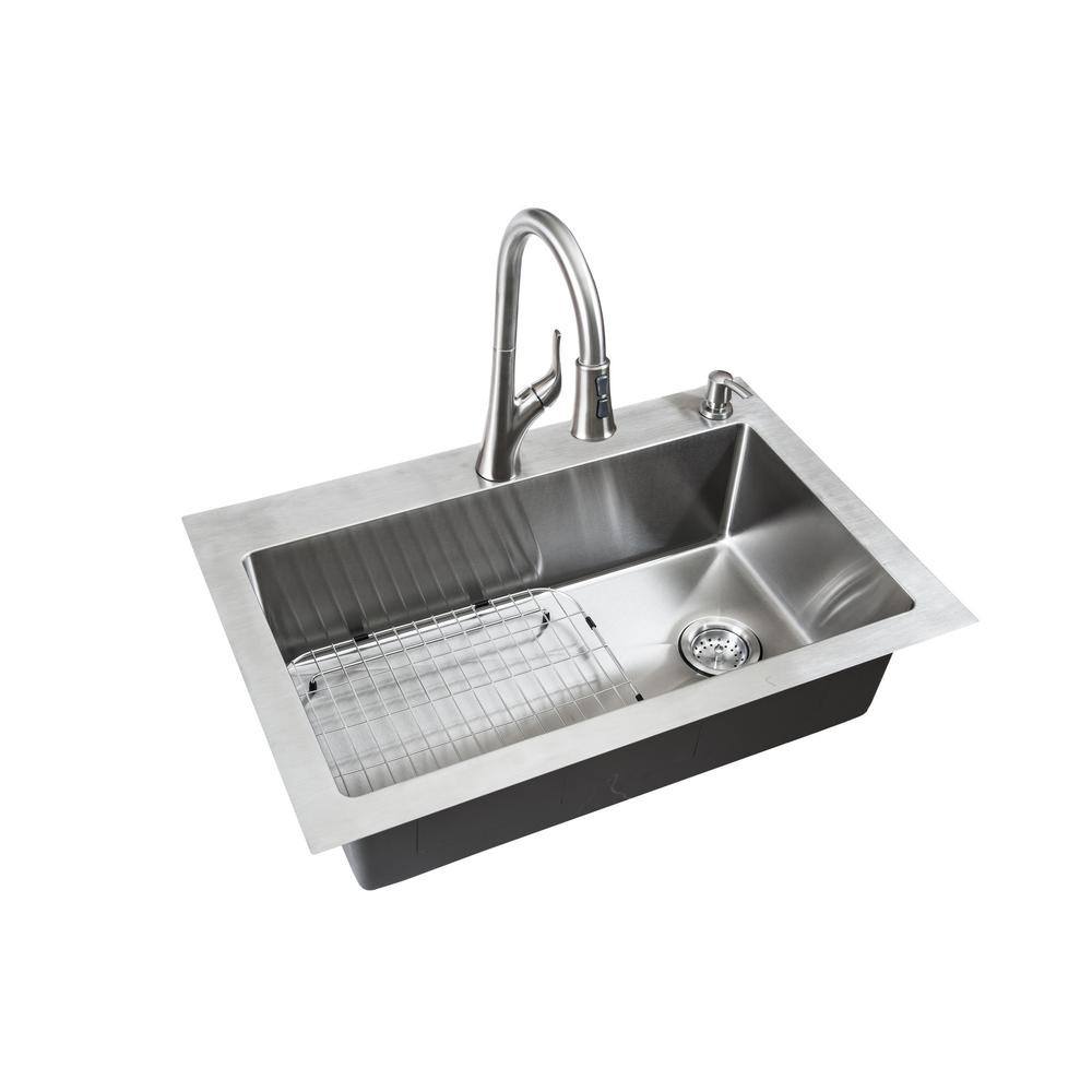 Glacier Bay All In One Dual Mount Small Radius Stainless Steel 33 2 Hole Single Basin With Faucet Kitchen Sink Brushed Finish