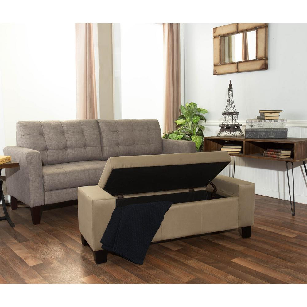 Berkley Beige Microfiber Rectangular Tufted Modern Storage Bench