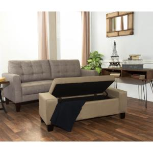 Berkley Beige Microfiber Rectangular Tufted Modern Storage Bench by
