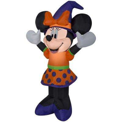 3.51 ft. Pre-Lit Inflatable Minnie in Orange and Purple Outfit and Witch Hat Airblown