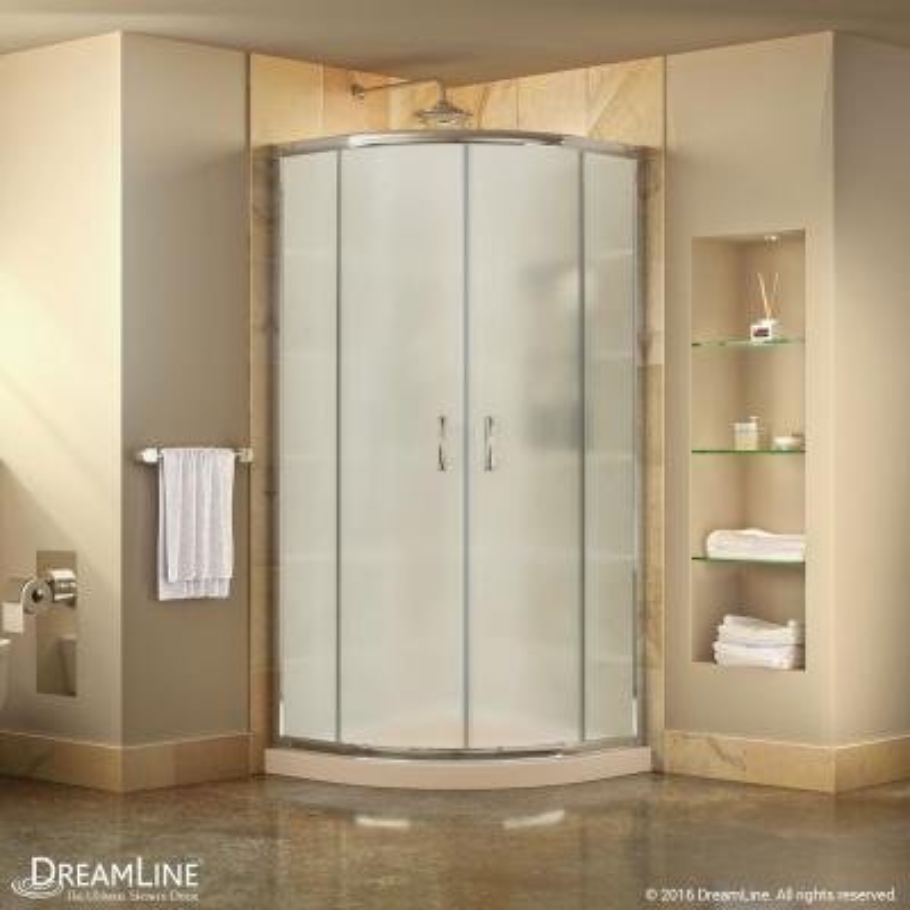 Prime 36 in. x 36 in. x 74.75 in. H Corner Semi-Frameless Sliding Shower Enclosure in Chrome with Shower Base in Biscuit