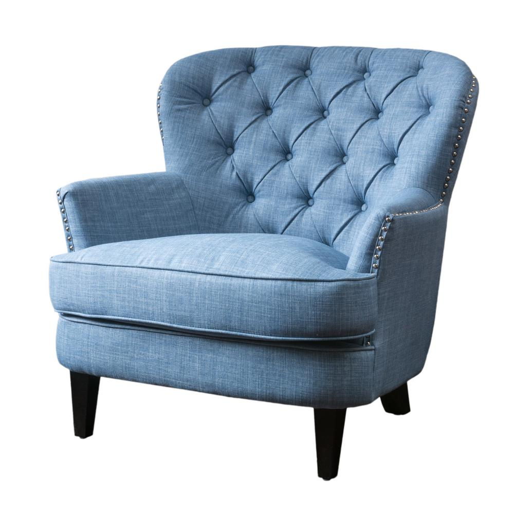 Tafton Light Blue Fabric Tufted Club Chair