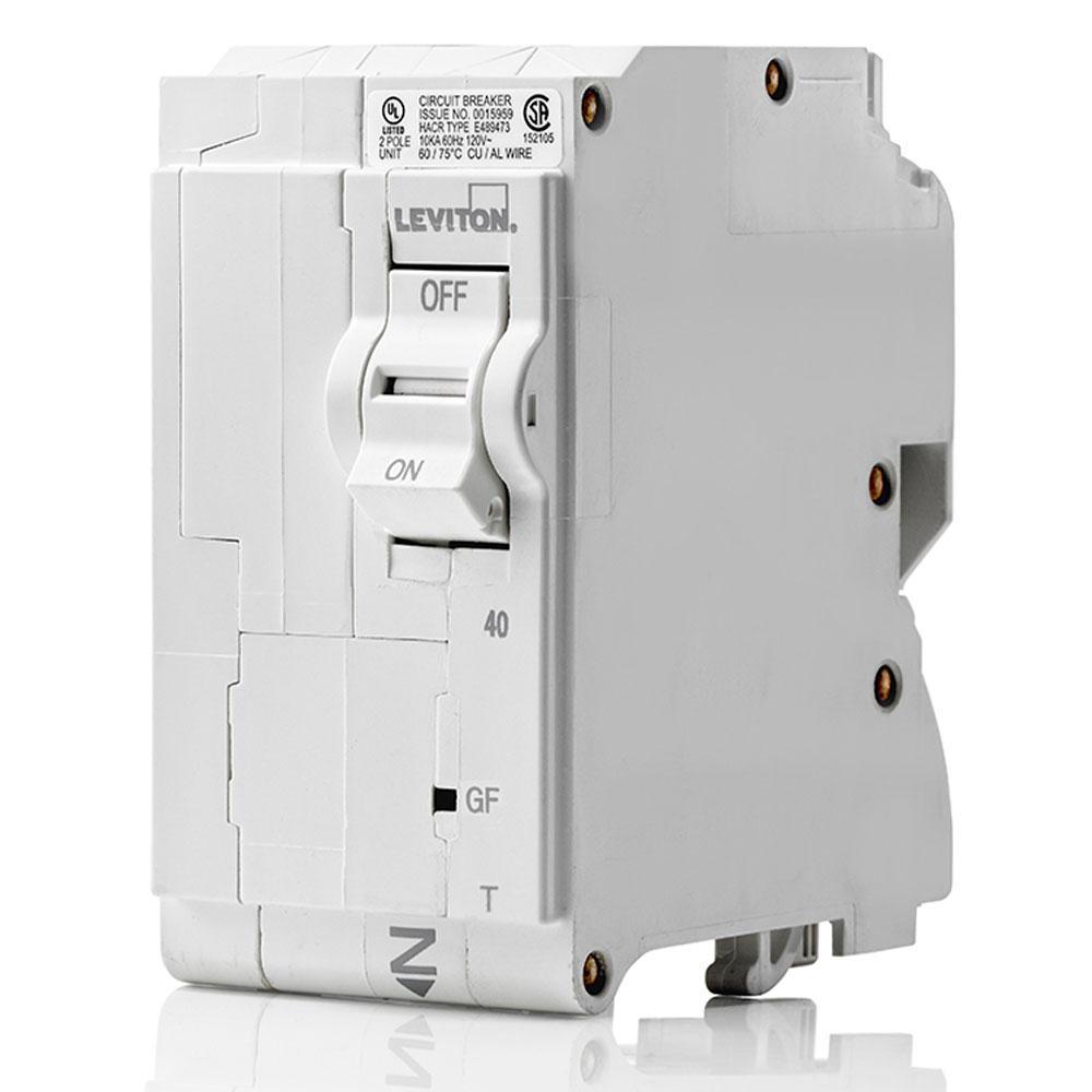 Leviton R13-LB240-GFR Branch Circuit Breaker GFCI 2-Pole 40 Amp New In Box