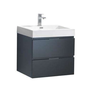Valencia 24 in. W Wall Hung Bathroom Vanity in Dark Slate Gray with Acrylic Vanity Top in White