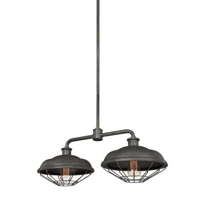 Feiss Lennex 2-Light Slated Grey Metal Island Chandelier