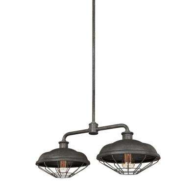 Lennex 2-Light Slated Grey Metal Island Chandelier