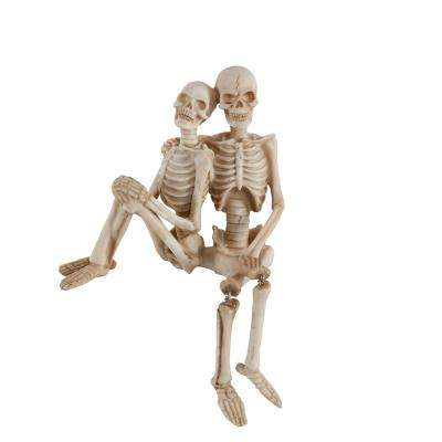 7.75 in. x 7 in. Halloween Polyresin Skeleton Couple Set (Side by Side)