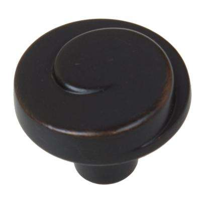 1-1/8 in. Dia Oil Rubbed Bronze Classic Wave Cabinet Knob (10-Pack)