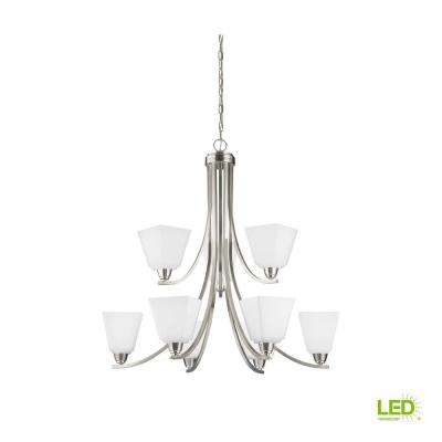 Parkfield 9-Light Brushed Nickel Chandelier with LED Bulbs