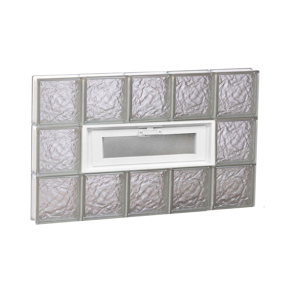 Clearly Secure 28.75 in. x 17.25 in. x 3.125 in. Frameless Ice Pattern Vented Glass Block Window