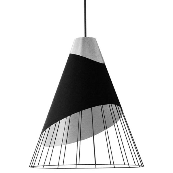 1-Light Black Pendant with Painted Steel Shade