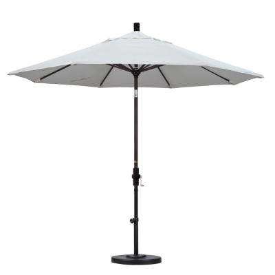 9 ft. Bronze Aluminum Pole Market Aluminum Ribs Collar Tilt Crank Lift Patio Umbrella in Natural Sunbrella