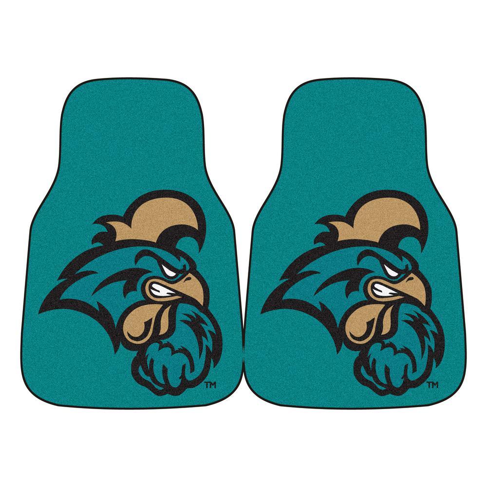 NCAA Coastal Carolina Heavy Duty 2-Piece 18 in. x 27 in. Nylon Carpet Car Mat