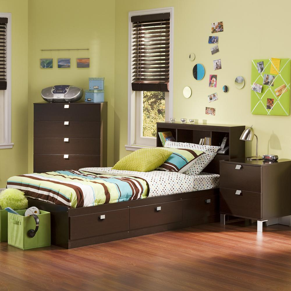 South shore spark 3 piece chocolate twin bedroom set - South shore 4 piece bedroom furniture set ...