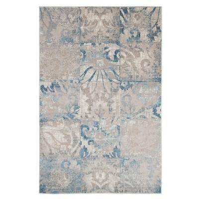Vintage Patchwork Beige Blue 5 ft. x 8 ft. Area Rug