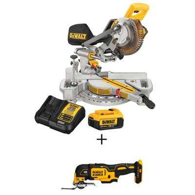 20-Volt MAX Lithium-Ion Cordless 7-1/4 in. Miter Saw with Battery 4Ah and Charger w/ Bonus Oscillating Tool