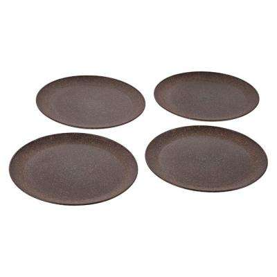 EVO Sustainable Goods 10 in. Dark Brown Eco-Friendly Wood-Plastic Composite Plate (Set of 4)