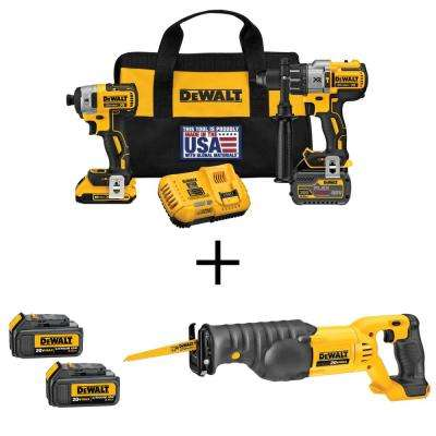 FLEXVOLT 60-Volt and 20-Volt MAX Lithium-Ion Cordless Brushless Combo Kit (2-Tool) and Bonus Recip Saw and (2) Batteries