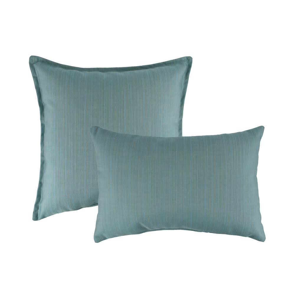 Sunbrella Dupione Celeste Combo Outdoor Pillow