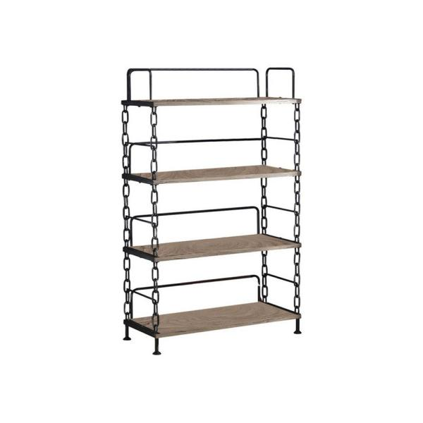 59 in. H Brown and Black Industrial Looking Wood 4-Shelf Accent Bookcase