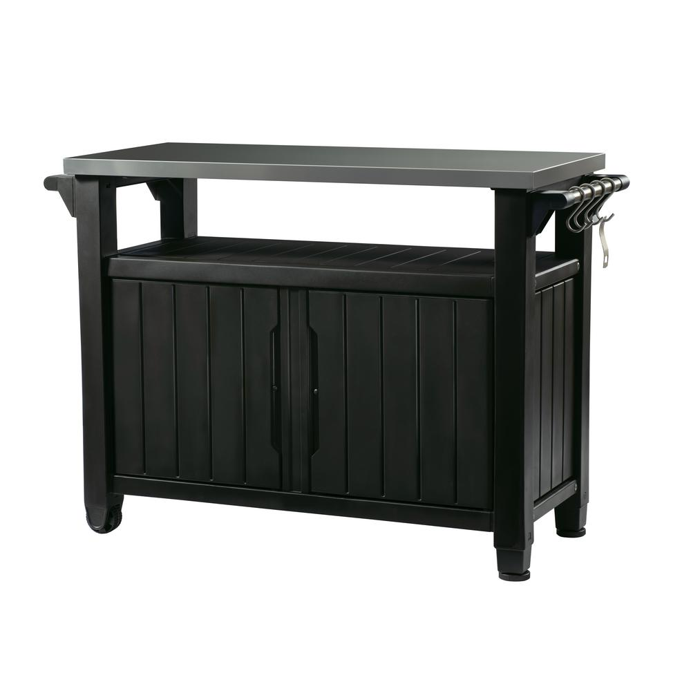 Grill Serving Prep Station Cart With Patio Storage In Graphite