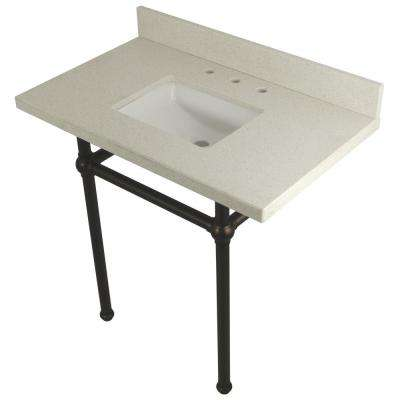 Square Washstand 36 in. Console Table in White Quartz with Metal Legs in Oil Rubbed Bronze