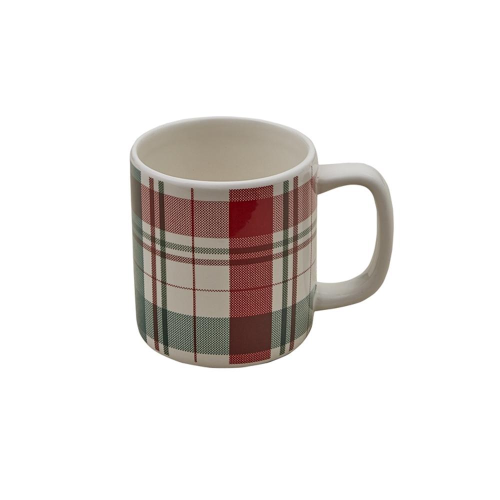 Winter Botanic Plaid 16 oz. Multicolor Ceramic Coffee Mug (Set of 4)