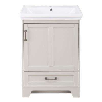 Evie 24 in. W x 18 in. D Vanity Cabinet in Grey with Vitreous China Vanity Top in White with White Sink