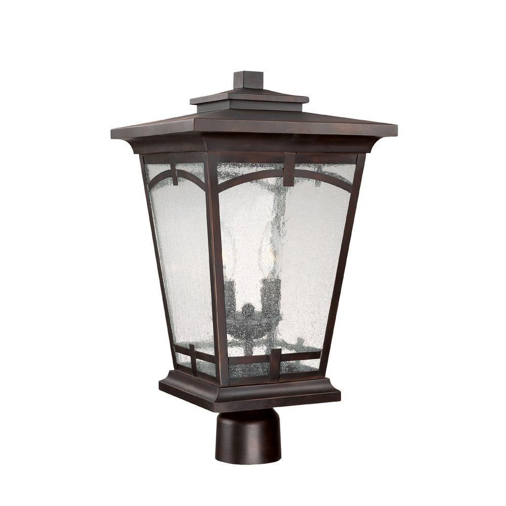 Filament Design 2-Light 20 in. Post Lantern Burnished Bronze Finish Seeded Glass-DISCONTINUED