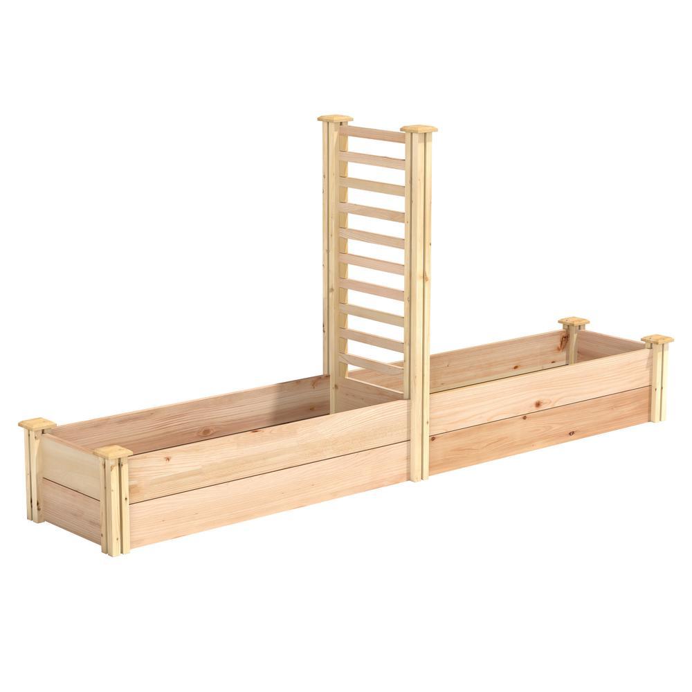 16 in. x 8 ft. X 11 in. Premium Cedar Raised Garden Bed with Trellis