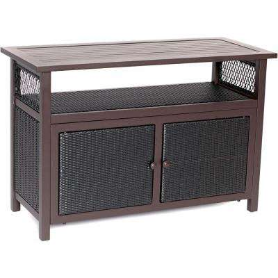 Brown Wicker Outdoor Patio Serving Bar
