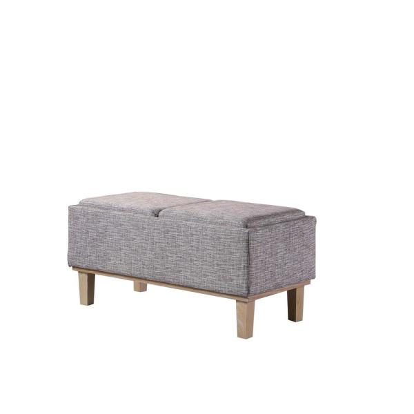 17 in. Grey Seat Flip Storage Bench with Unfinished Legs
