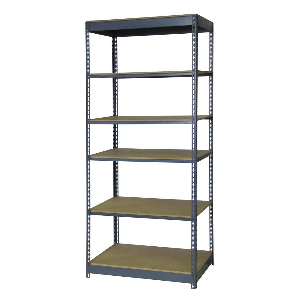 Edsal 84 in. H x 36 in. W x 24 in. D 6-Shelf Boltless Steel Shelving Unit in Gray